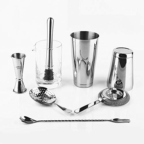 YUTRD ZCJUX Juego de Herramientas de Barras de 8 Piezas Bartender Kit Shaker, Jigger, colador, Cuchara, Muddler Mezcla de Vidrio
