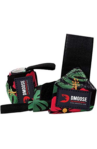 DMoose Wrist Wraps for Weightlifting 12 and 18 Inches Thumb Loops with Wrist Support for Workouts Powerlifting Wrist Straps for Weight Lifting Men and Women