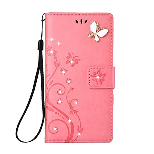 LG G6 Case,LG G6 2017 Wallet Case Fashion Handmade 3D Bling Diamond Butterfly PU Leather Card Holder Cover Kickstand Protective Case for LG G6 2017 (Pink)
