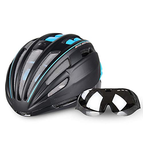Casque de Moto Casque de vélo Lunettes intégré avec des Lunettes Hommes et Femmes vélo Mountain Equipment vélo Ultra léger Casque LPLHJD (Color : Bleu, Size : Lens+Colorful Lens)
