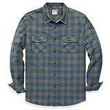 Dubinik® Camisa de franela a cuadros para hombre, manga larga, corte regular, para tiempo libre Verde militar. L