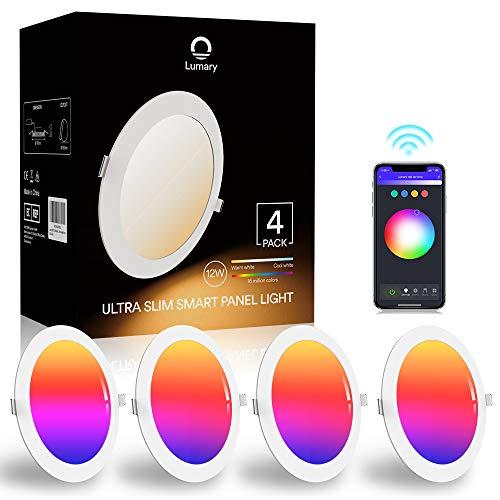 Lumary Faretti LED da Incasso - per Cartongesso WiFi 12W Faretti LED Ultrasottili RGBWW 840LM APP Controllo Multi Colore Dimmerabile Musica Faretti a LED per Interni,Pertain Alexa Google Home (4-Pack)