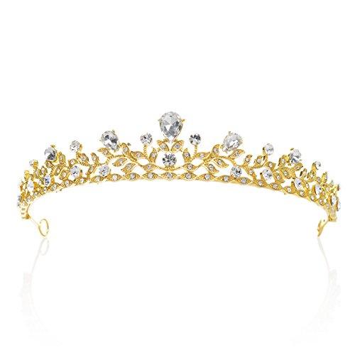 SWEETV Retro Stil Kristalle Prinzessin Krone Strass Braut Tiara Festzug Prom Hochzeit Diadem, Gold