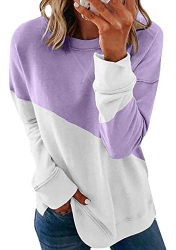 YMING Sudadera de manga larga para mujer, estilo informal, para otoño Zs-purple M