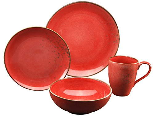 CreaTable 19993, Serie Nature Collection Mediterran, Geschirrset Single Set ROT 4 teilig