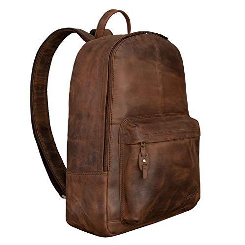 STILORD 'Marley' Echtleder Rucksack Vintage für Business Schule Uni Moderner Laptop Rucksack Großer Daypack für Breite DIN Ordner A4 Echtes Leder, Farbe:Sepia - braun