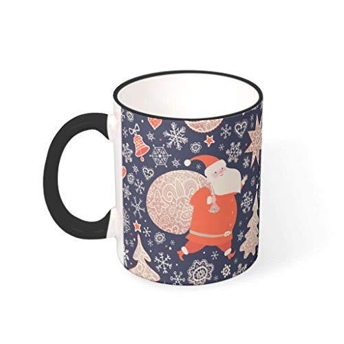 O2ECH-8 11 OZ Christmas Flower Mischen Kakao Becher mit Griff Hochwertige Keramik Glossy Tasse - Herren Geschenke, Geeignet für Familie verwenden drakblack 330ml