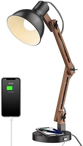 ELYONA Modern Swing Arm Desk Lamp with Wireless Charging USB Port Wood Bedside Table Lamp Eye product image