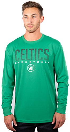 Ultra Game NBA Boston Celtics Mens Active Long Sleeve Tee Shirt, Team Color, Medium