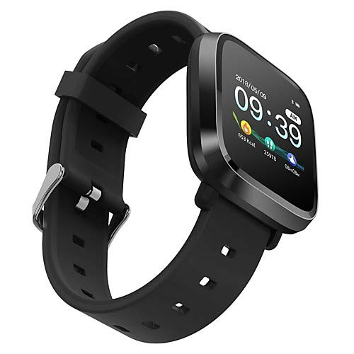 Digibuff Smart Watch Waterproof Fitness Tracker 1.3' Touch Screen Fitness Watch Heart Rate Sleep Monitor Step Calorie Counter Call SMS Alert Activity Tracker (Black)