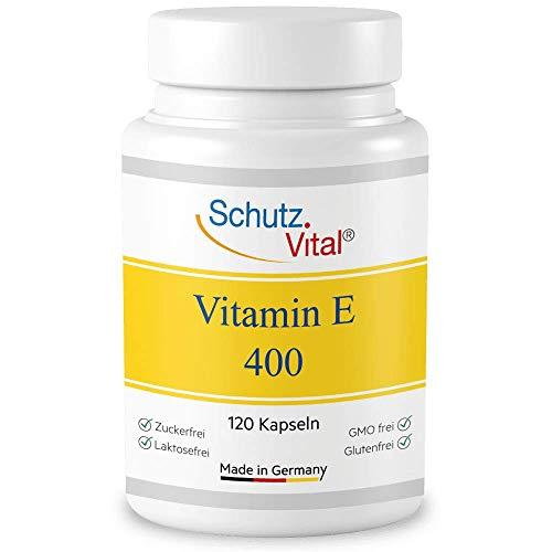 Vitamin E hochdosiert - Premium Qualität - 120 Softgel Kapseln mit hochwertigem Vitamin E 400 IE - Ohne Allergene, Anti Oxidant, Anti Aging - Laborgeprüft, hergestellt in Deutschland