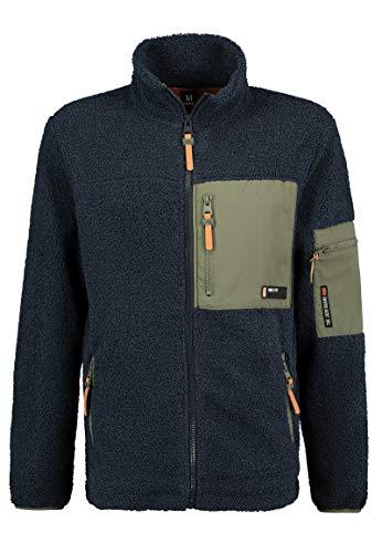Sublevel Herren Utility Fleece-Jacke mit Reißverschluss Dark-Blue S