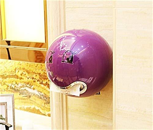 Soporte de Rollo de Papel de plástico ABS Una Variedad de Colores Caja de pañuelos en Rollo Creativa para baño Soporte de Papel higiénico de Hotel (Color: Morado)