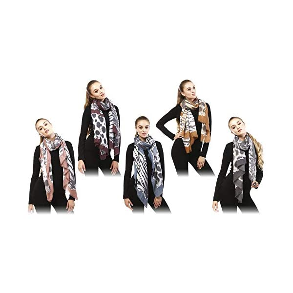 by you Women Classic Leopard Zebra Animal Print Lightweight Viscose Oblong Scarf for Women
