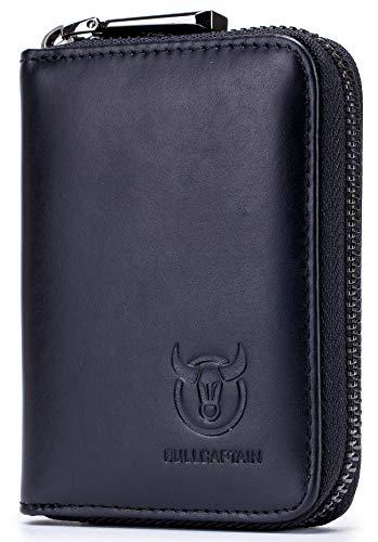BULLCAPTAIN Genuine Leather Men Wallet Card Holder Cards Zipper Credit Card Pack Case Purse 3