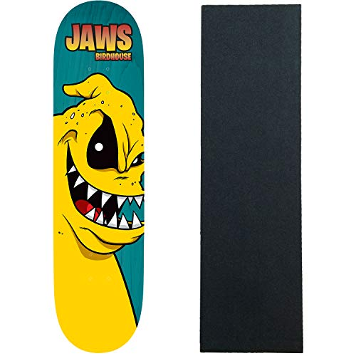 """Birdhouse Skateboard Deck Jaws Yuk Mouth Assorted Colors 8.38"""" with Grip"""