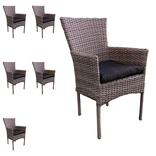 Mojawo 6 stuks mooie rotan stoel stapelbaar polyrotan tuinstoel grijs gemêleerd stapelstoel met stoelkussen