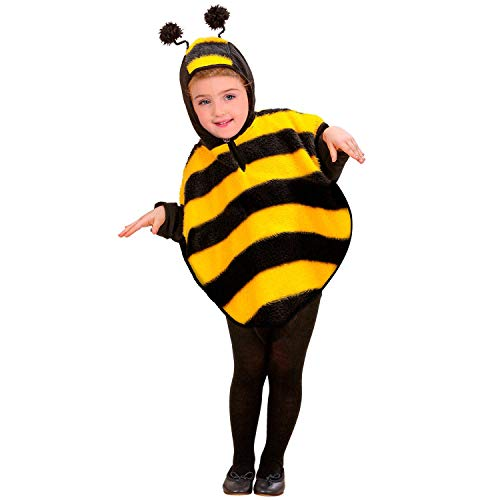 Widmann 60260 60260-Kinderkostüm Biene aus Plüsch, Poncho mit Kapuze, Tier, Mottoparty, Karneval, Unisex-Kinder, Schwarz/Gelb, 110 cm