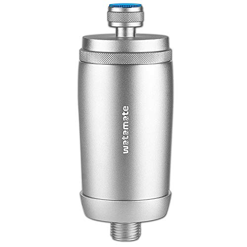 Watamate Activ+ Stainless Steel 1/2 Inch Bathroom Shower and Tap Hard Water Filter, Silver, Matte Finish