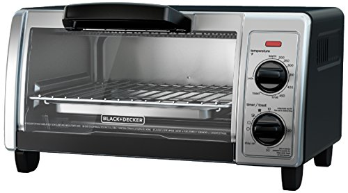 BLACK+DECKER 4-Slice Toaster Oven with Easy Controls, Stainless Steel, TO1705SB,Medium