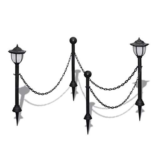 Kettenzaun mit Solarleuchten, UV-beständiges Ritzelkabel Lampe Zweistangen für Garten Park Hof Außenbeleuchtung