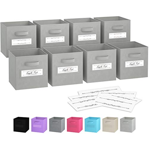 Royexe - Storage Cubes - (Set of 8) Storage Baskets | Features Dual Handles & 10 Window Cards | Cube Storage Bins | Foldable Fabric Closet Shelf Organizer | Drawer Organizers and Storage (Light Grey)
