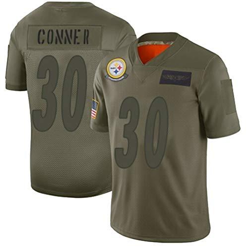 Steelers Conner # 30 Rugby-Trikot, American Football-Trikot T-Shirt Pro Rugby-Anzug Große Jungen Atmungsaktives Baumwolljersey-ArmyGreen-XXL