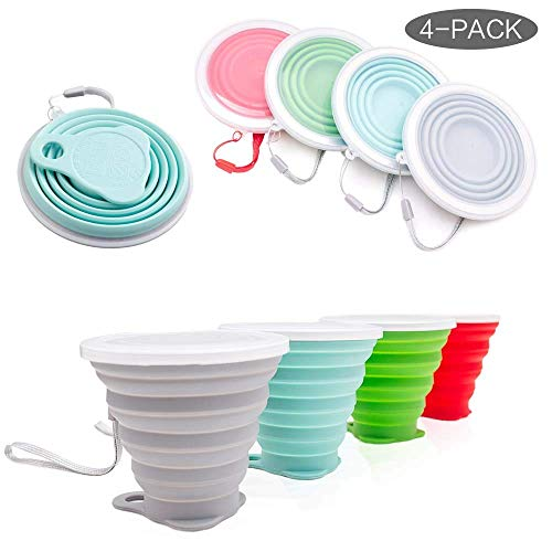 Hokone Silicone Collapsible Travel Cup, Folding Camping Cup with Lids Silicone Mug Portable for Camping Drinking Coffee 4Pcs