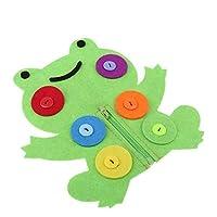 手作りフェルト ジッパーおもちゃ ボタン練習 キッズ手作りキット 不織布 オーナメント 全10サイズ - カエル
