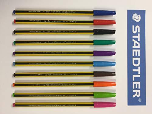 Staedtler Noris Stick 434 M Penna a Sfera,1 mm, Set da 10 Pezzi, colori classici (Blu,Rosso,Nero,Verde) colori brillanti (Azzurro,Fuxia,Viola,Marrone,Arancio,Verde chiaro)