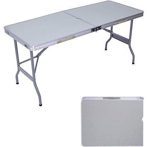 HJFGSAK Mesa Plegable Mesa Plegable portátil de Aluminio para Maletas, Mesa de Picnic compacta para Camping con Orificio para Paraguas y asa de Transporte, Plateado, Estados Unidos