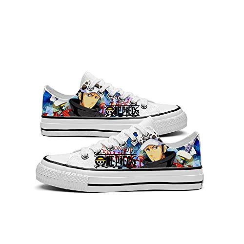 JPTYJ One Piece Luffy/Portgas·D· Ace/Trafalgar Law Chaussures en Toile Anime pour Couple Unisexe Femmes Hommes Anime Cosplay Baskets Classiques C-42