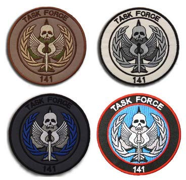 4pcs Call of Duty Modern Warfare Task Force 141 Logo Embroidery Patch Military Tactical Clothing Accessory Backpack Armband Sticker Gift Patch Decorative Patch Embroidered Patch (4pcs)