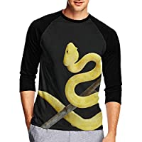 Tシャツ 七分袖 メンズ 中袖 吸水速乾 シンプル 無地 おしゃれ ゴールデンイエロー ヘビ 創意デザイン 男性Tシャツ スタイリッシュ おもしろ カジュアル スポーツ