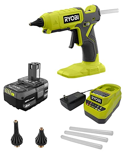 Ryobi Glue Gun Kit P307 ONE+ 18V Cordless Dual Temperature with 4.0 Ah Lithium-Ion Battery + Charger + Bonus Nozzles