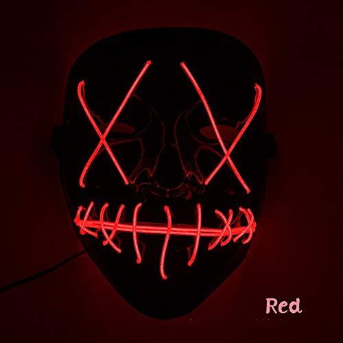 Sxgyubt Mscara de Halloween de miedo con luz LED en forma de V para festivales, cosplay, disfraz rojo, juego de rol divertido para decoracin de fiesta de Halloween