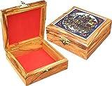 Scatola in legno di ulivo con scena di Gerusalemme in ceramica su Top speciale souvenir regalo Ebraismo Armenian Style Decor