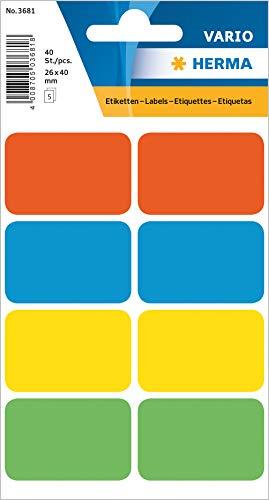 HERMA 3681 Vielzweck-Etiketten (26 x 40 mm, 5 Blatt, Papier, matt) selbstklebend, permanent haftende Haushaltsetiketten zur Handbeschriftung, 40 Haftetiketten, bunt