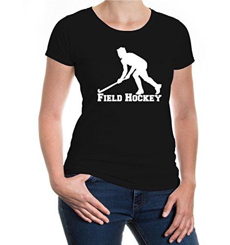 Girlie T-Shirt Field Hockey-XL-Black-White