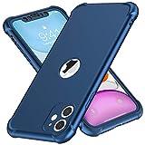 ORETECH Compatibile con Cover iPhone 11, Custodia per iPhone 11,con [ 2 x Pellicola Protettiva Vetro Temperato] 2 in 1 antiurto Ultra Sottile Hard PC TPU Silicone Anti Graffio per iPhone 11- Blu Scuro