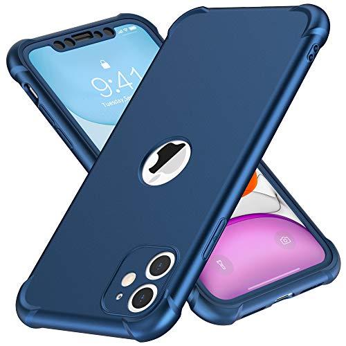 ORETECH Funda iPhone 11, Funda iPhone 11 con [ 2 x Protector de Pantalla de Vidrio Templado] 360° Carcasa Silicona Ligera Delgado PC+TPU Bumper Rubber Caso para iPhone 11 Case 6.1''-Azul Profundo