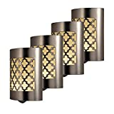 GE CoverLite LED Night Light, 4 Pack, Plug-in, Dusk-to-Dawn Sensor, Home Décor, UL-Listed, Ideal for Kitchen, Bathroom, Nursery, Bedroom, Hallway, 48675, Brushed Nickel   Moroccan, 4