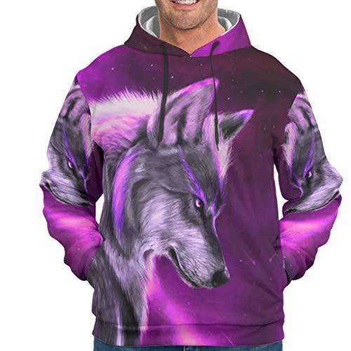 Fantasie Wolf paars sterrennevel hemel dier kunstdruk heren hoodie humor lange mouwen sweatshirt pullover met zakken alledaagse kleding