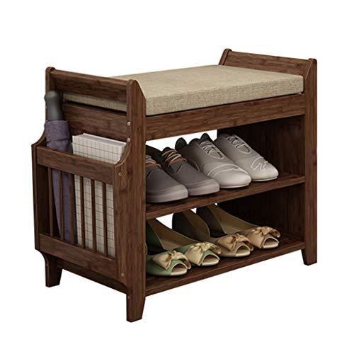 Zapatero Bamboo Shoe Rack Bench Cojín extraíble y cajón oculto 2 niveles Entrada estilo vintage Organizador de almacenamiento de zapatos Estante for dormitorio Sala de estar Baño Estante para Zapatos