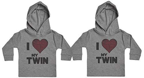 I Love My Twin Star Heart Sudadera con Capucha para bebé niña y bebé niño, Regalo para Gemelo del bebé