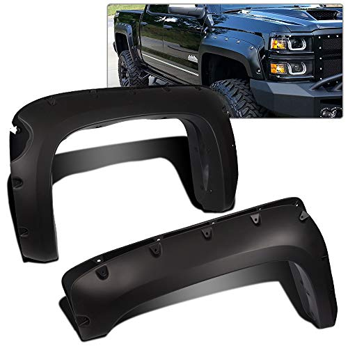 Speedmotor OE Style Pocket Bolt-Riveted Wheel Fender Flares Compatible for Chevy Silverado 1500 2007-2013 69.3' Short Bed Wheel Mudguards Paintable