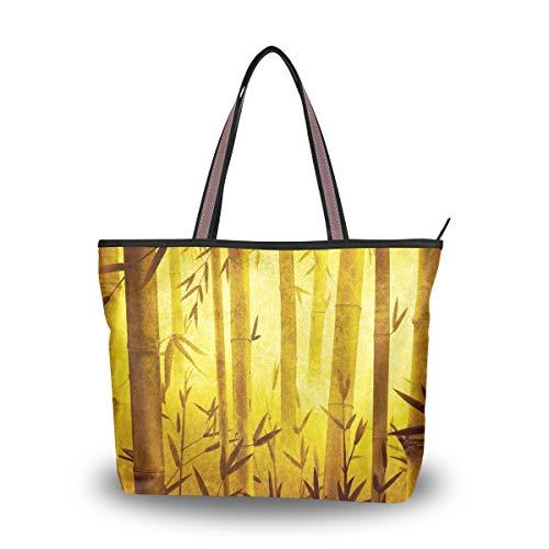 Eslifey Sac fourre-tout en bambou Motif forêt dorée - - M