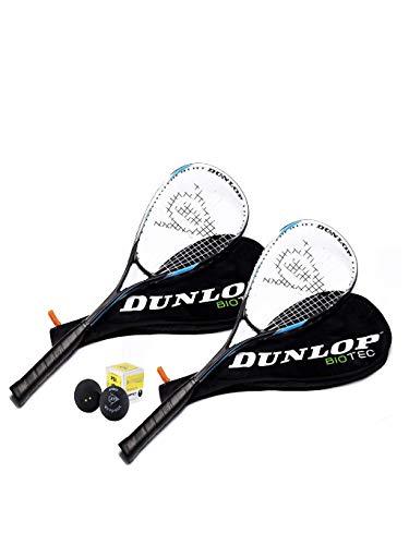Dunlop Biotec Blu Edt. 2x racchetta da squash + 3x Pallina Dunlop 195