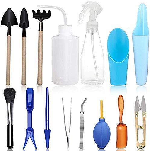 15 Stück Bonsai Werkzeug,Mini Pflanzen Werkzeug Set Gartenwerkzeug für Gärten und Topfpflanze,Mini Gartenwerkzeug Set, Einschließlich Gartenschere, Faltenschere, Mini-Rechen, Trimmer Set