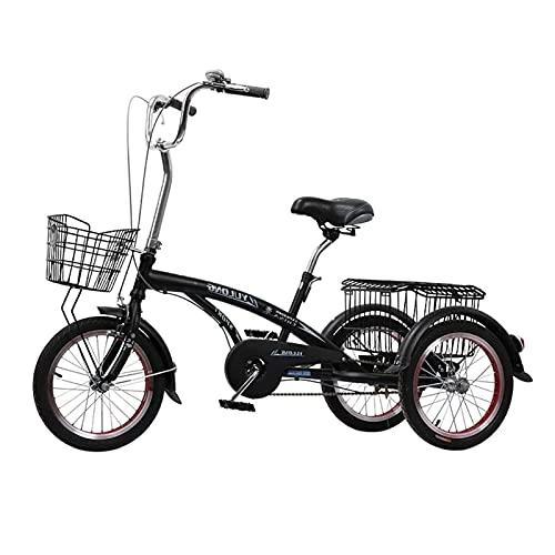 Triciclo de Adultos Triciclo Adulto Bicicleta De 3 Ruedas Con Cesta De Compras Bicicleta Bicicleta Ajustable Asiento Adulto Triciclo Bicicleta Para Compras Con Herramientas De Instalación(Color:NEGRO)